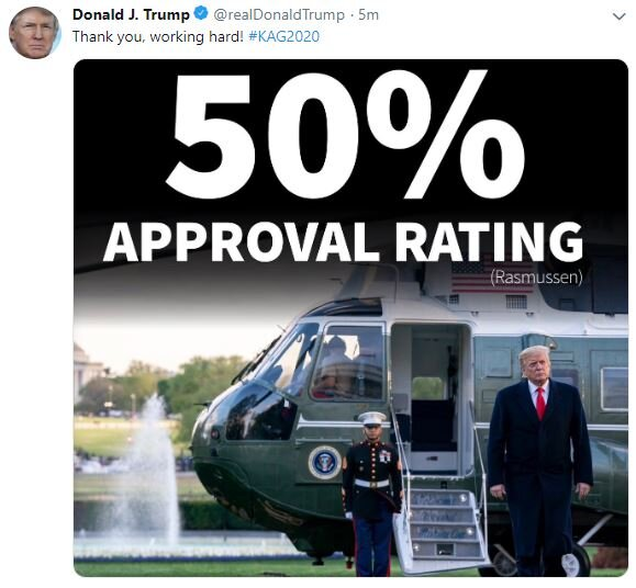 If you are the president for only 60 Million voters, a 50% approval rating ( which he doesn't have ) is a perfect score. Screenshot captured 09/16/2019.