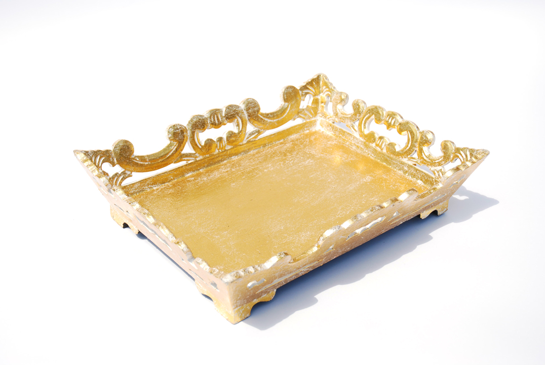 Gold Carved Wood Tray