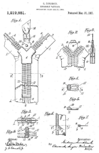 Gideon Sundback 的拉鏈專利圖