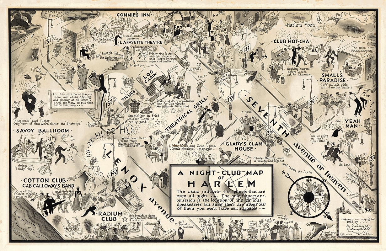 1930 年代哈林區漫畫版地圖( via   耶魯大學 Beinecke Library )