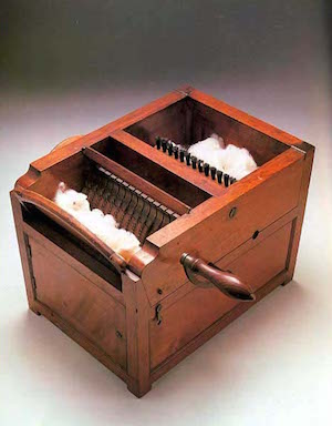 "惠特尼的""cotton gin"" 除棉花籽機( via  History Wired )"