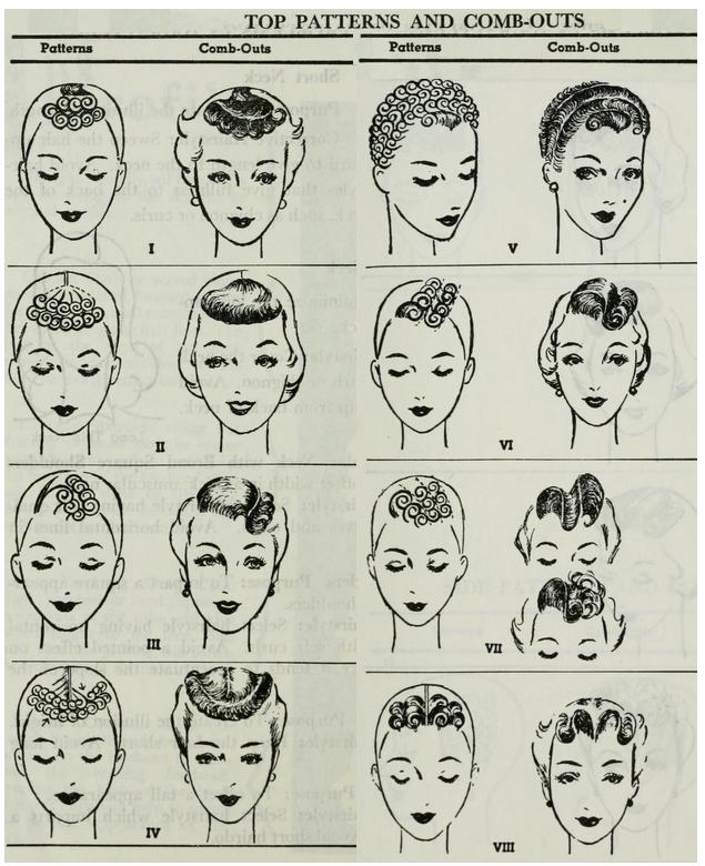 1940 年代 pin curl 造型的範例( via :  She Was a Bird )