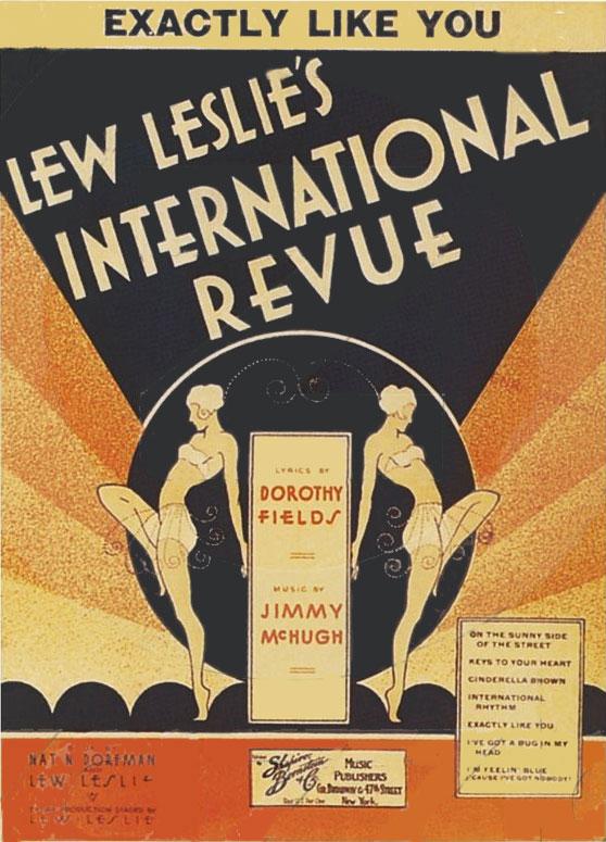 《Lew Leslie's International Revue(流.萊斯里國際雜耍秀)》樂譜封面,〈On the Sunny Side of the Street(街上的向陽面)〉列在右下方( via : Riverwalk Jazz )