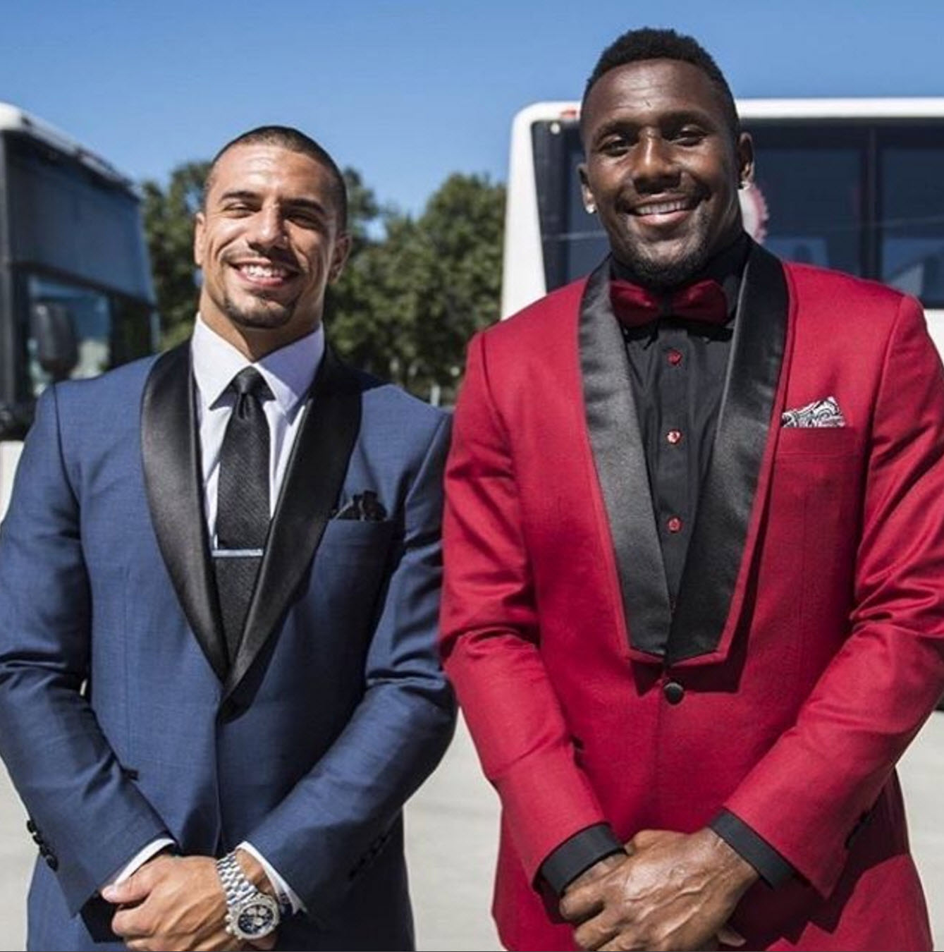 Business as usual. Kurt Coleman  @k4cole20  and Thomas Davis  @td58  hitting the road in  #ALBAbespoke  suits designed by  #jillevans .