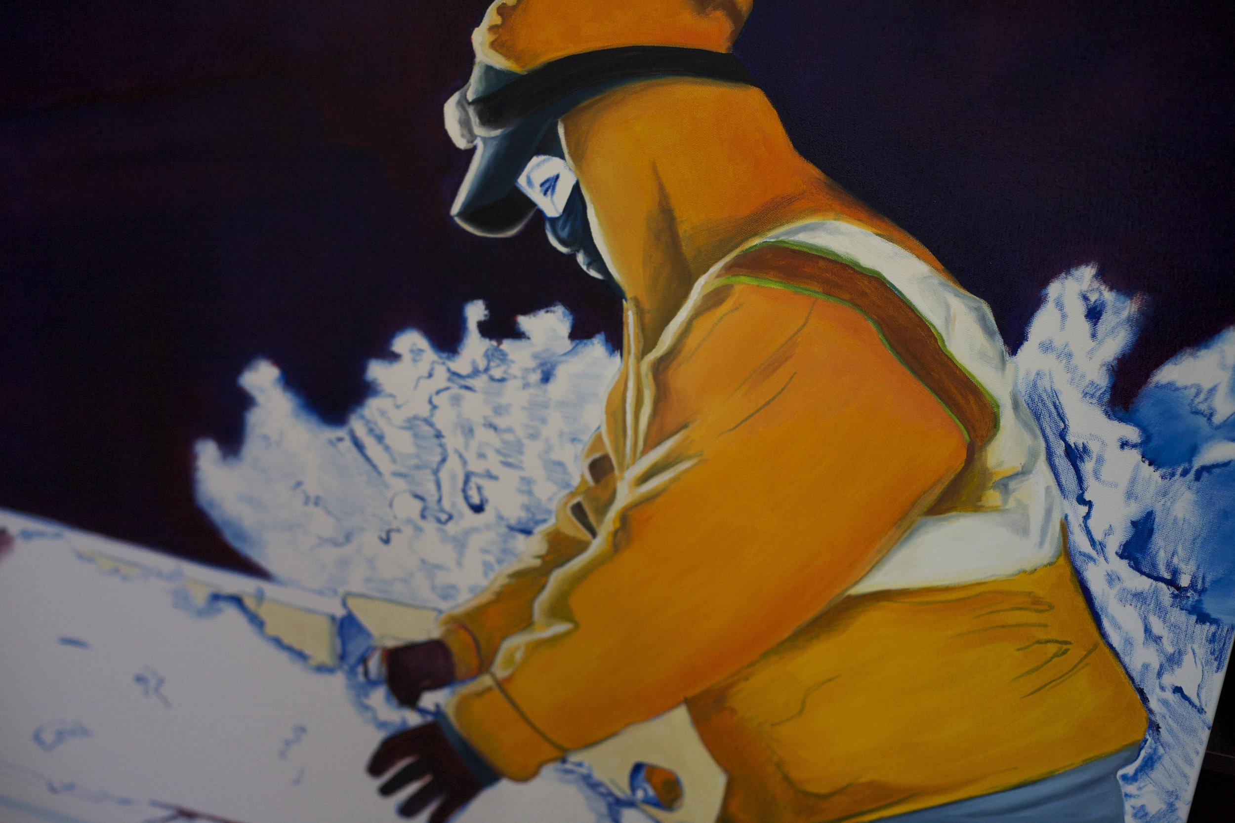 In one of Correa's oil paintings, a woman harvesting grapes at night ties a bandana around her mouth and nose to protect herself from the smoke permeating the fields.   Rachael Bongiorno for NPR