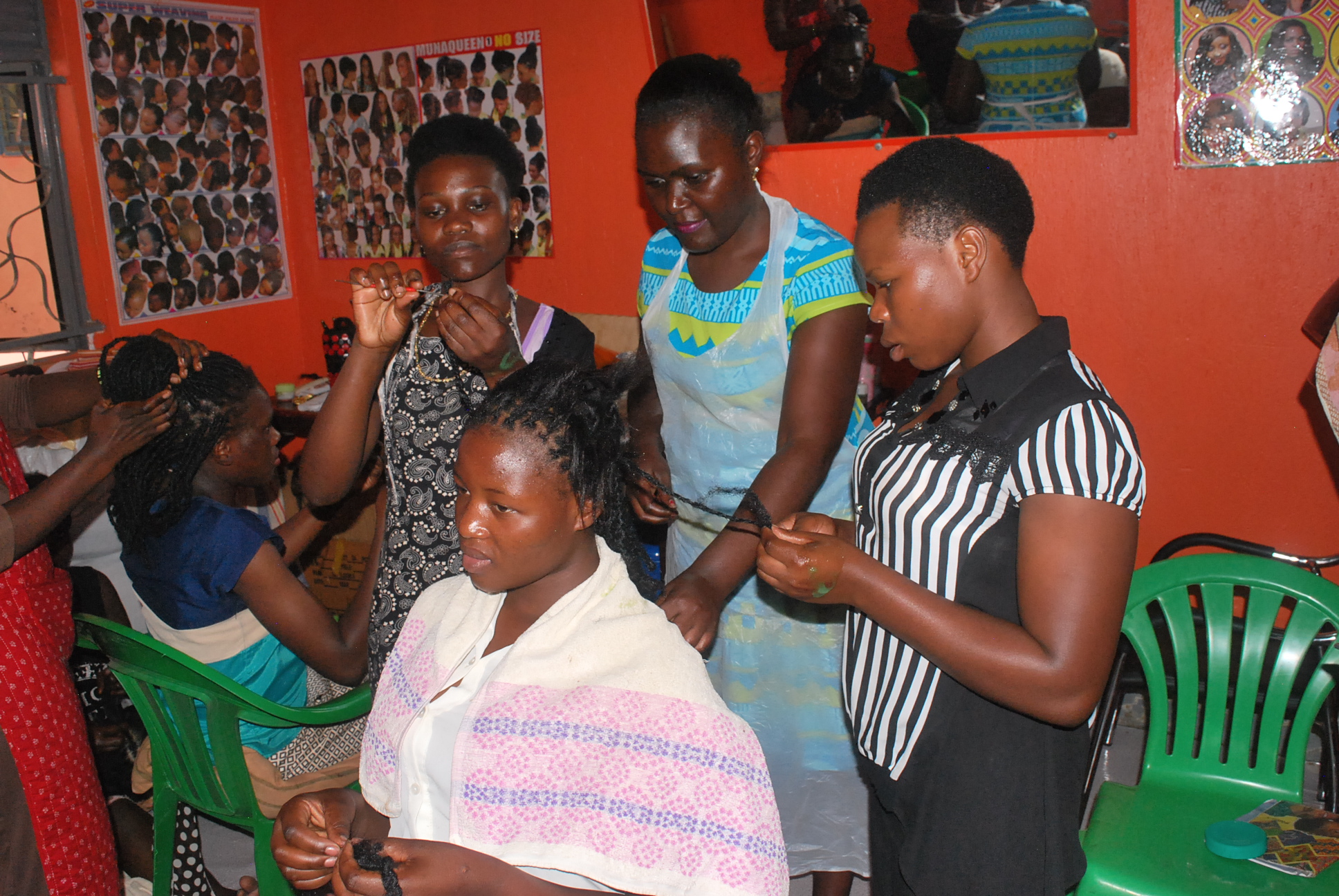 Hairdressing is one of the technical skills taught to the girls in Katanga under the Girl Care Program