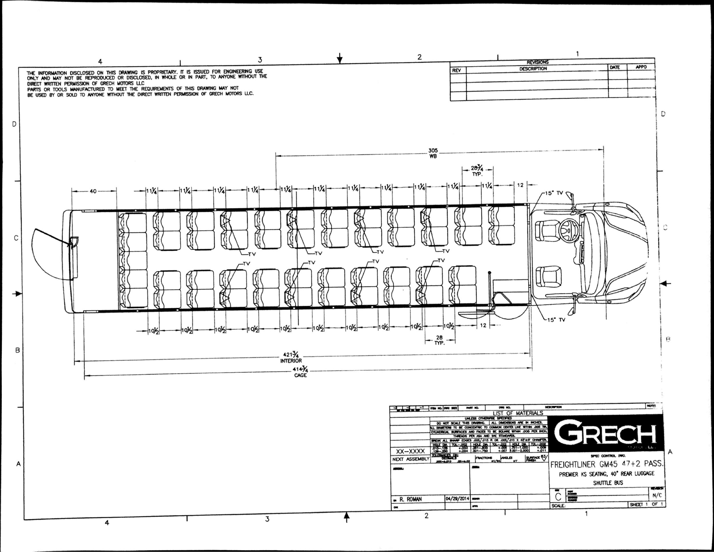 Grech Motors Freightliner Shuttle Bus For Sale GM45Floor Plan