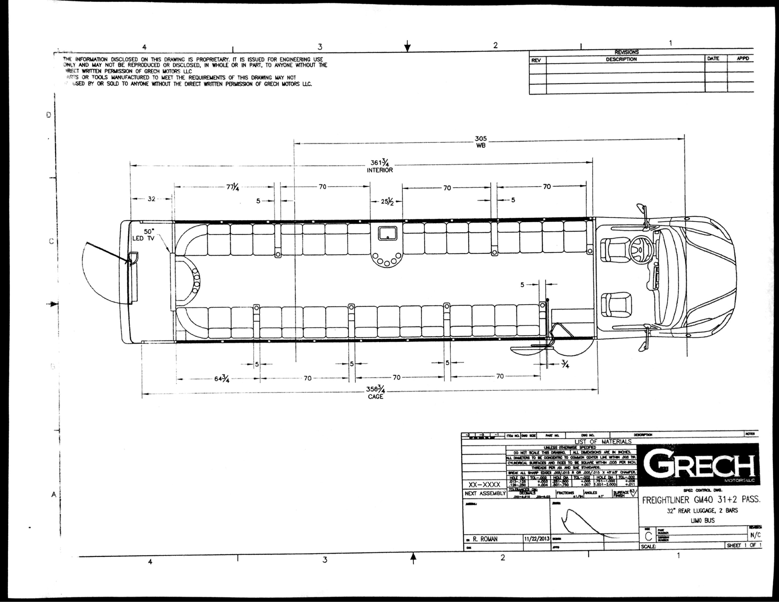 Grech Motors Freightliner Shuttle Bus For Sale GM1650Floor Plan