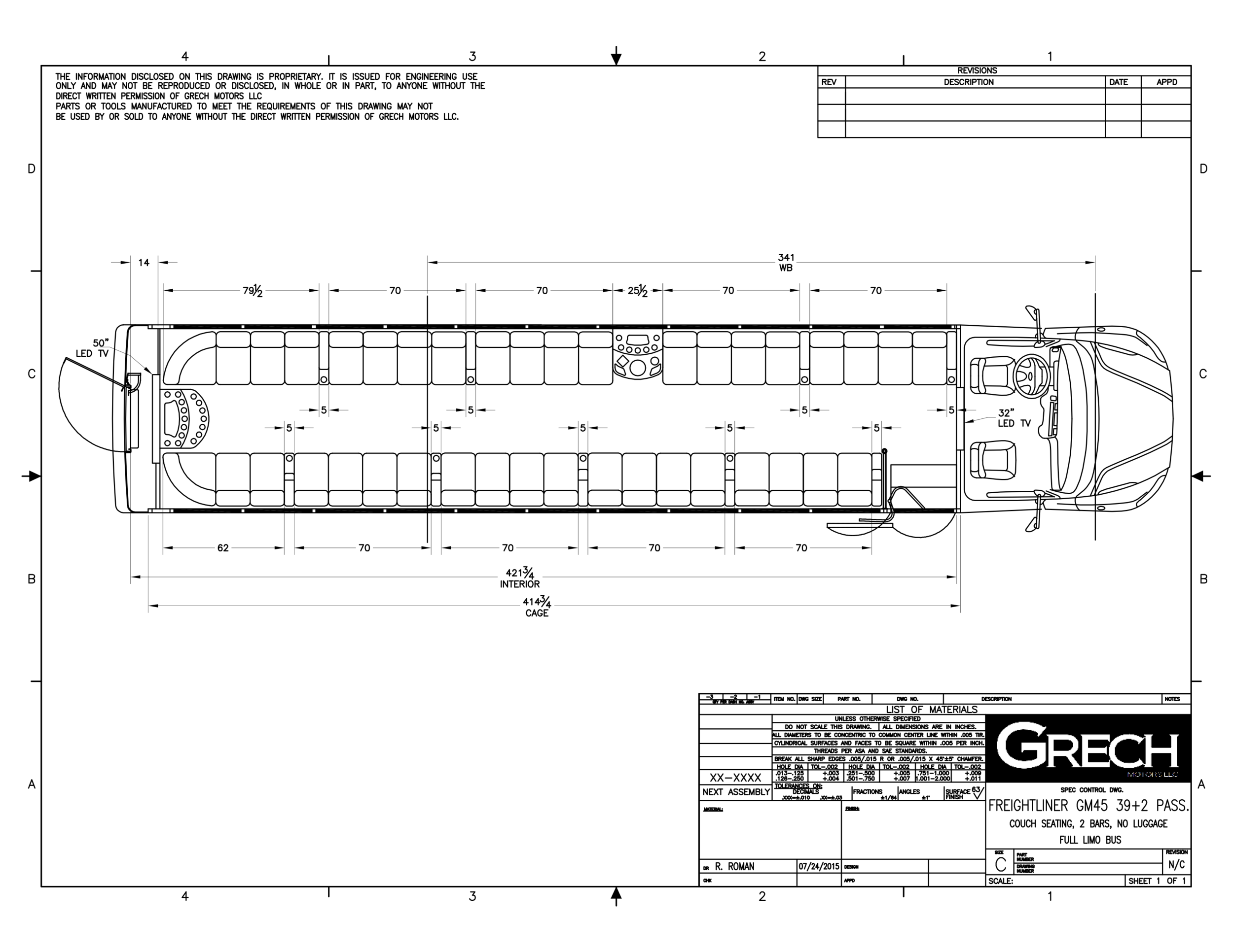 Grech Motors Freightliner Limo Bus For Sale GM45 Floor Plan