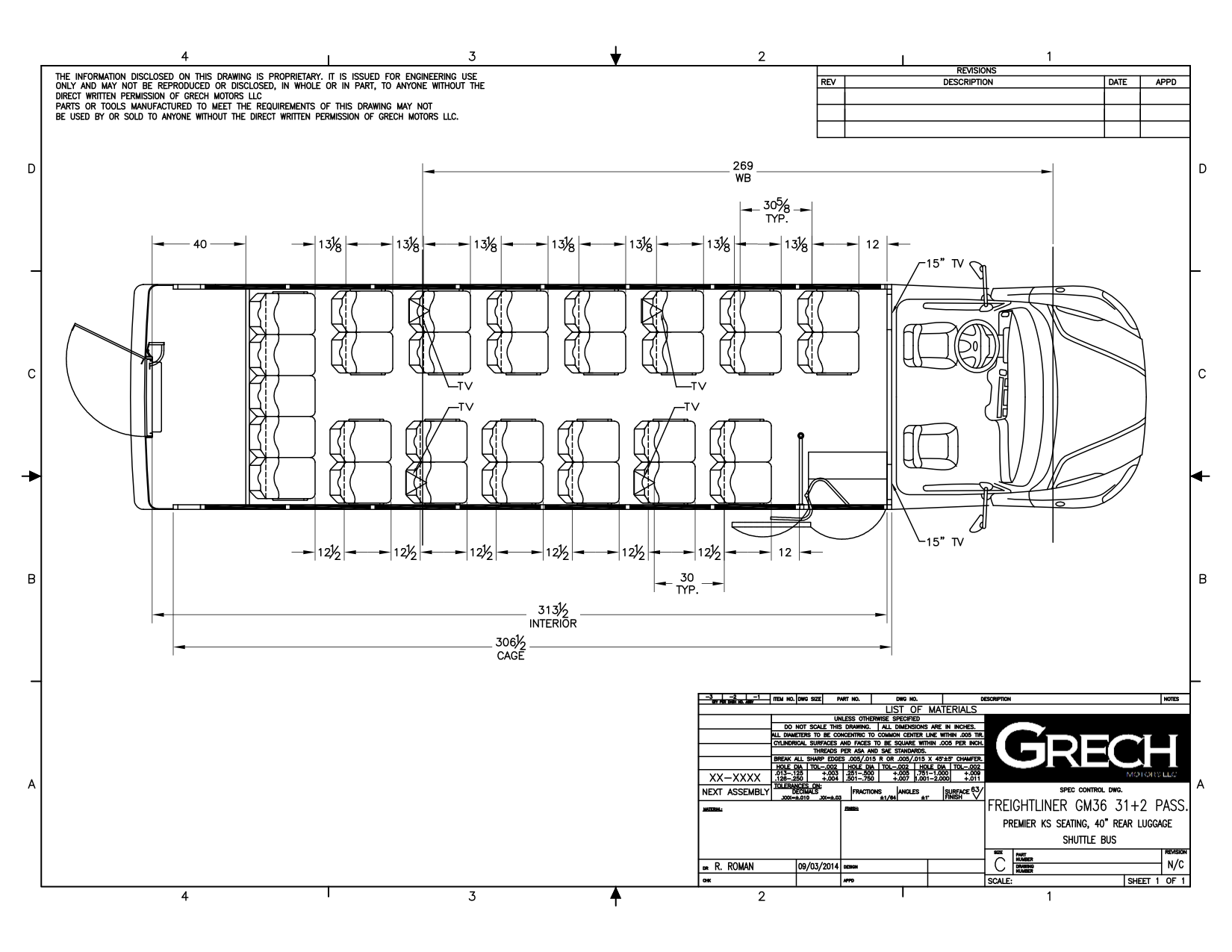Grech Motors Freightliner Shuttle Bus For Sale GM36Floor Plan