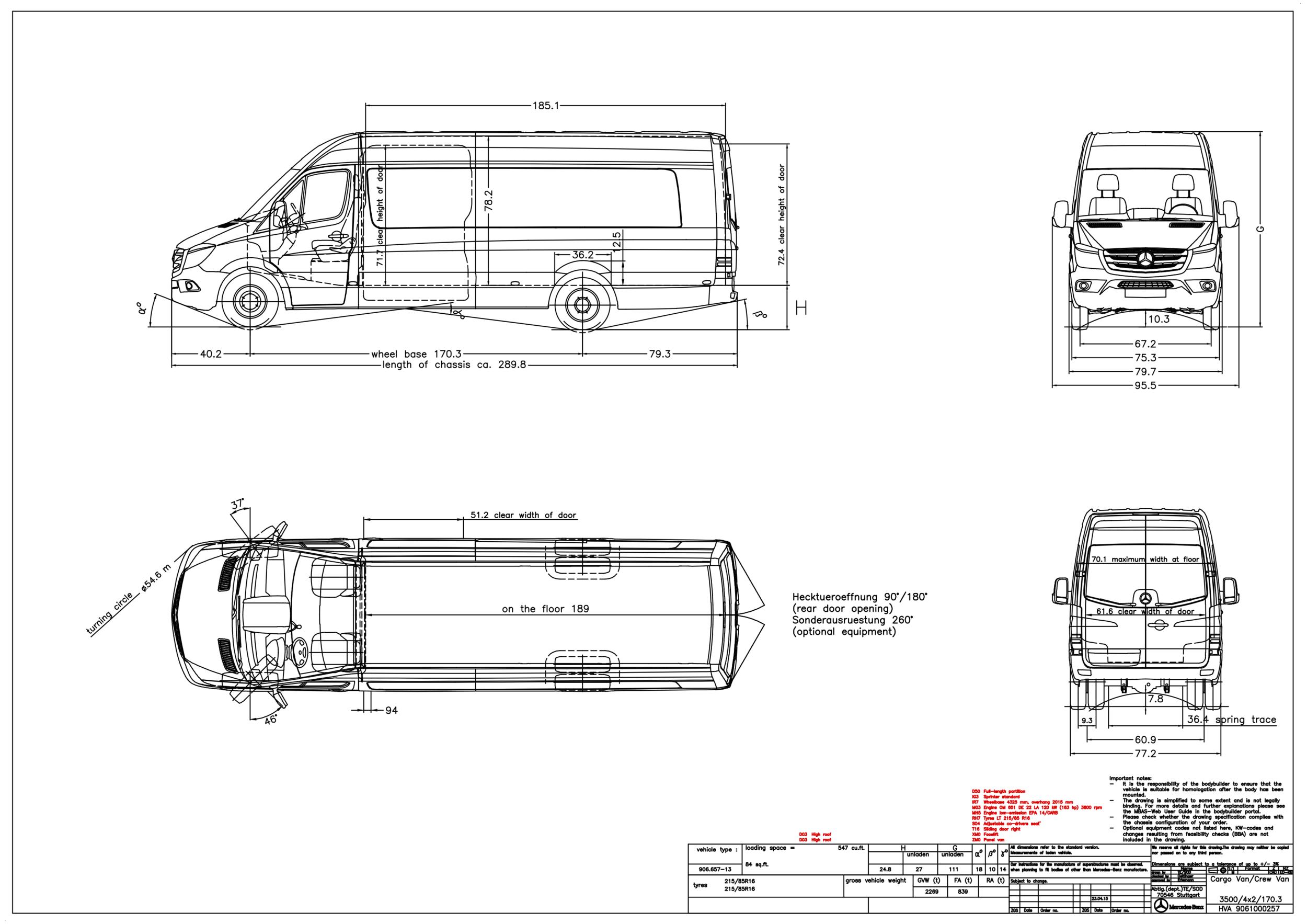 Grech Motors Mercedes-Benz Sprinter dimensions