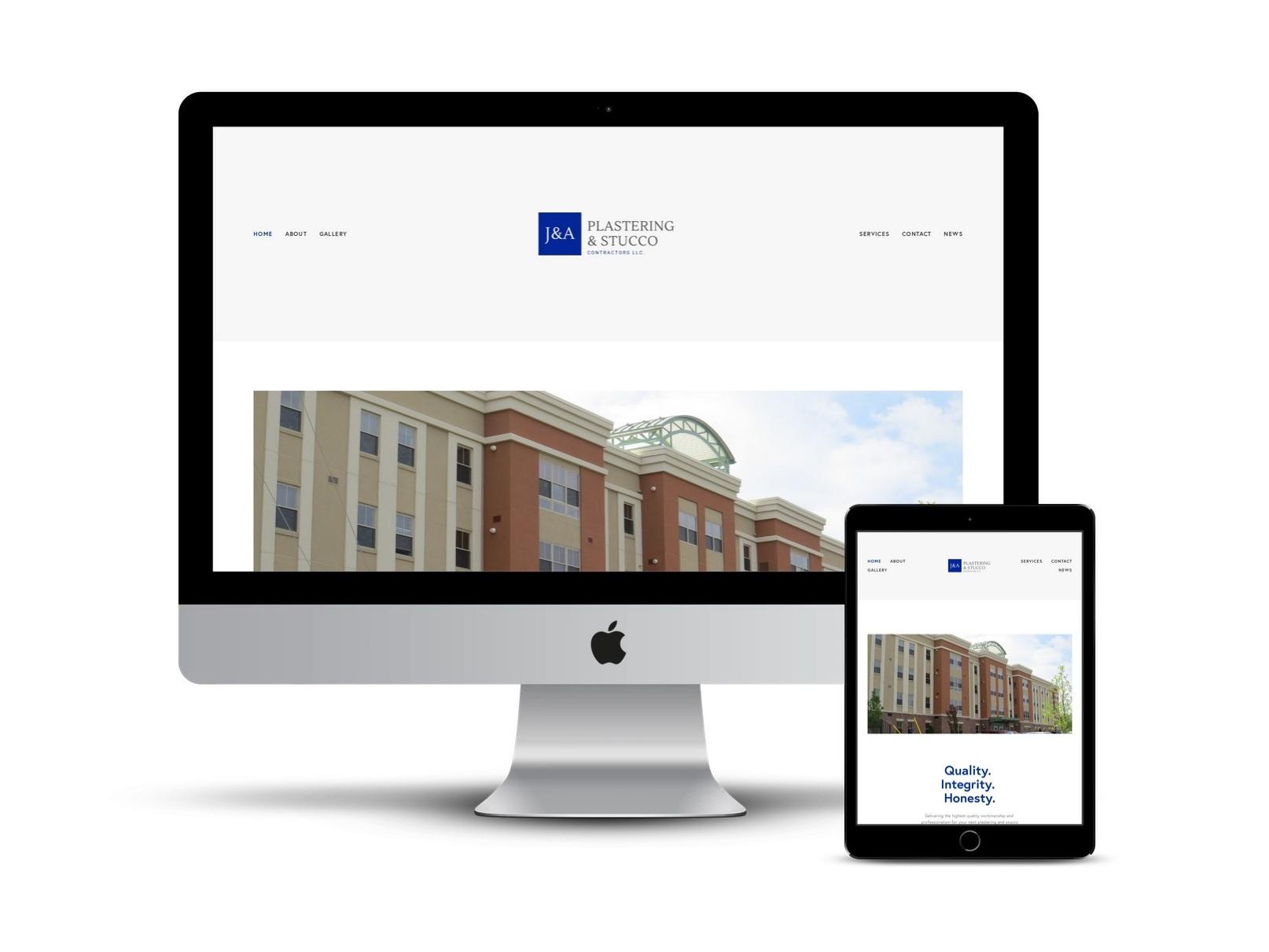 Custom Logo and Website Design | J & A Plastering & Stucco