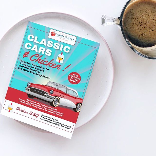 A flyer for another great local event.  Classic Cars & Chicken! #printdesign #graphicdesigner #315designs
