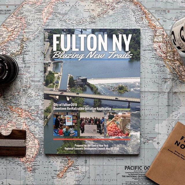 The cover design and a sampling of the layout for the Fulton, NY DRI Application Publication. #printdesign #graphicdesign #advertising #fultonny #315designs