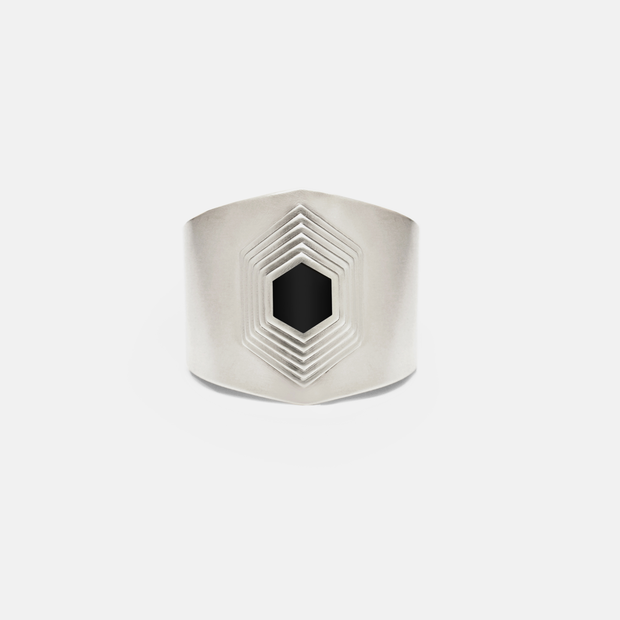 The Axis Cuff in Sterling Silver with Jet Black Inlay