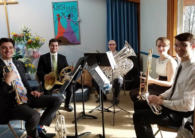 The Salmontet Brass Quintet rehearsing before our Easter celebration!  Don't miss it this morning!