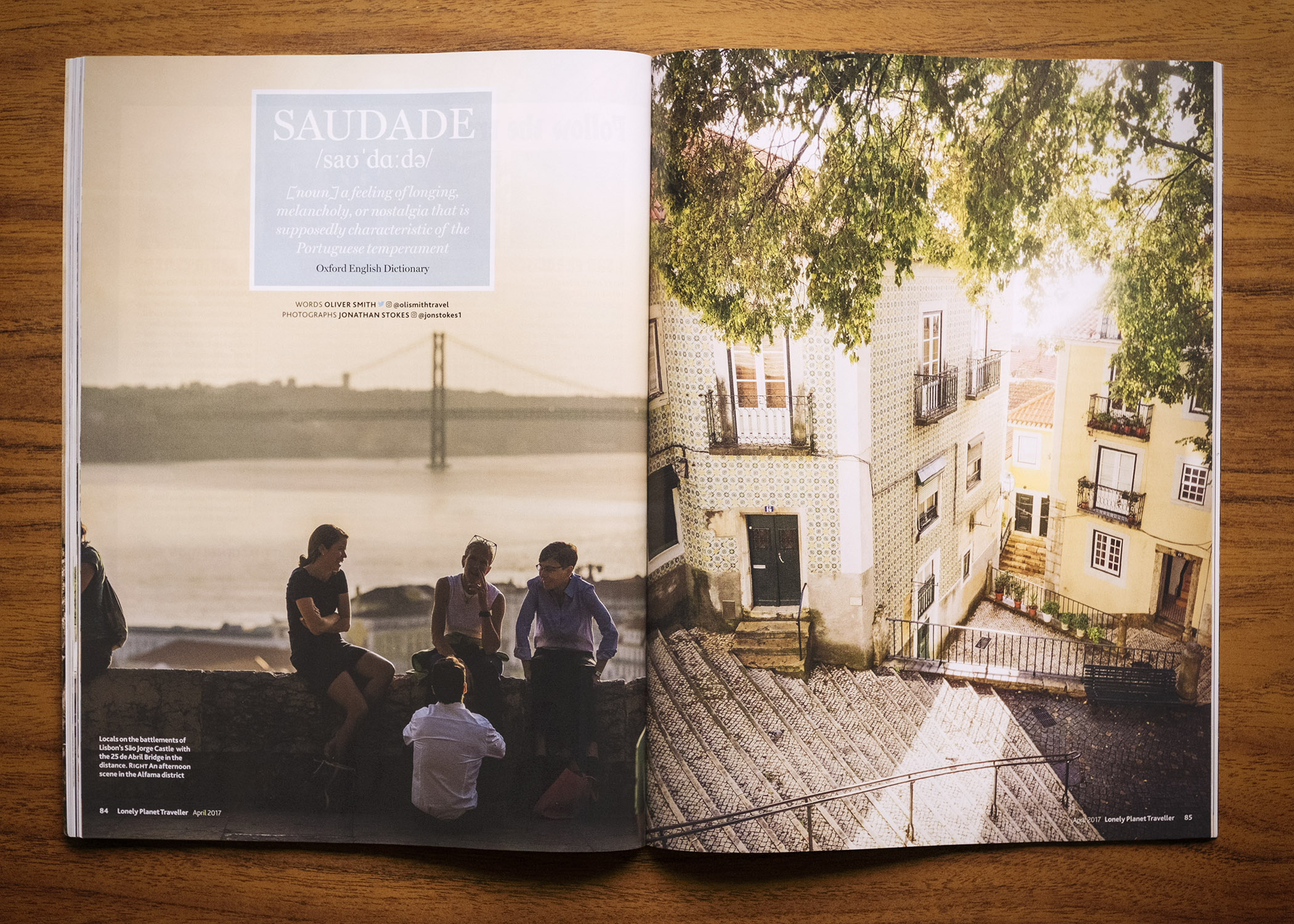 "SAUDADE  ""A feeling of longing, melancholy, or nostalgia that is supposedly charatericstic of the Portuguese temperament ""  Oxford English Dictionary  Feature for Lonely Planet Traveller Magazine in Lisbon, Portugal.  Feature written by  Oliver Smith."