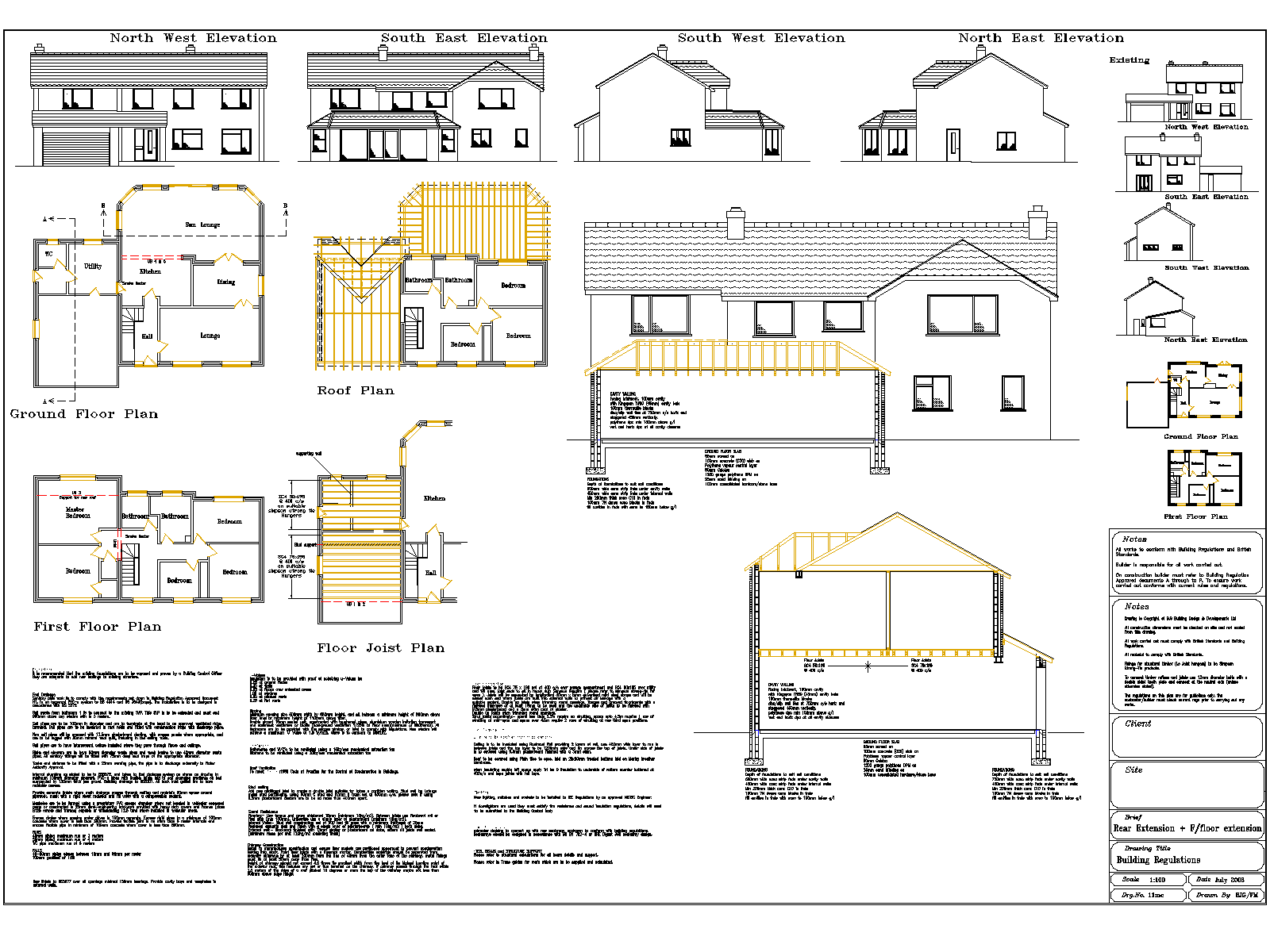 Single storey extension and first storey extension over garage for planning and building regulations.