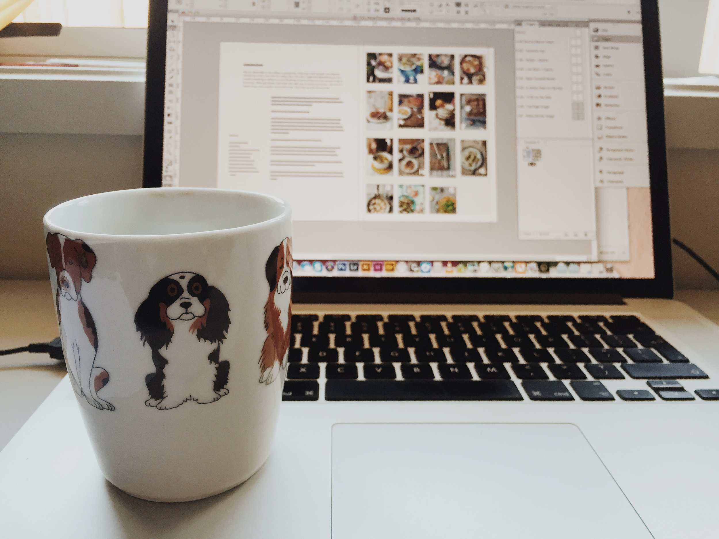 Settling in to design with a lot of coffee