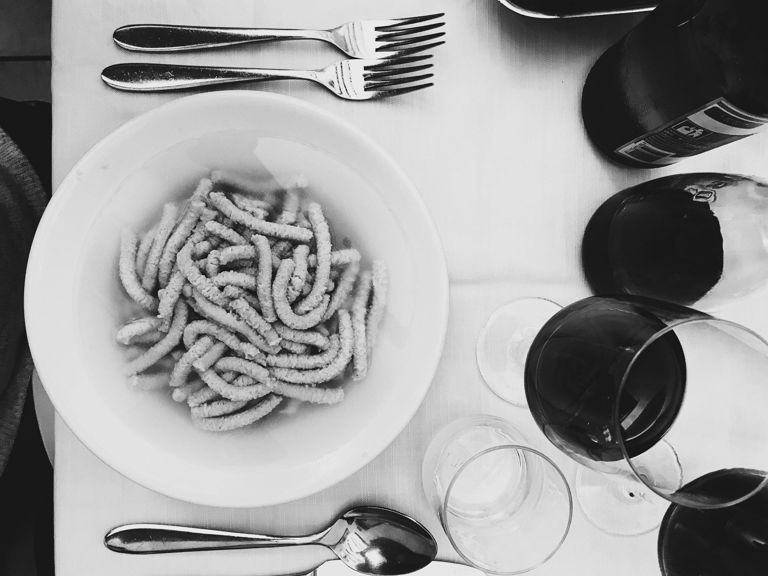 Looks funny, tastes DELICIOUS - local dish Pasatelli in Brodo