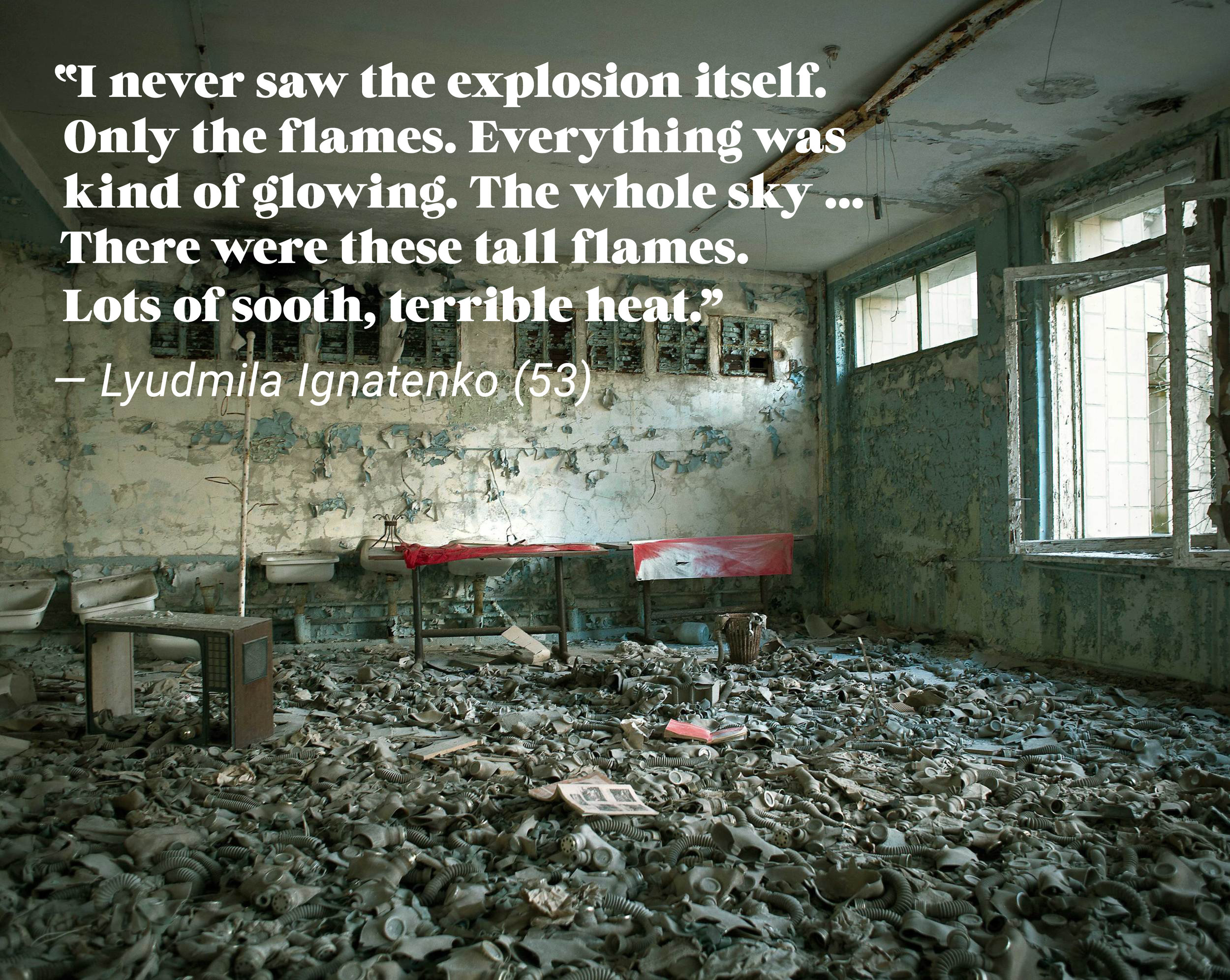 ⎯ Gasmasks at School nr. 3 in Pripyat in the Chernobyl Exclusion Zone.