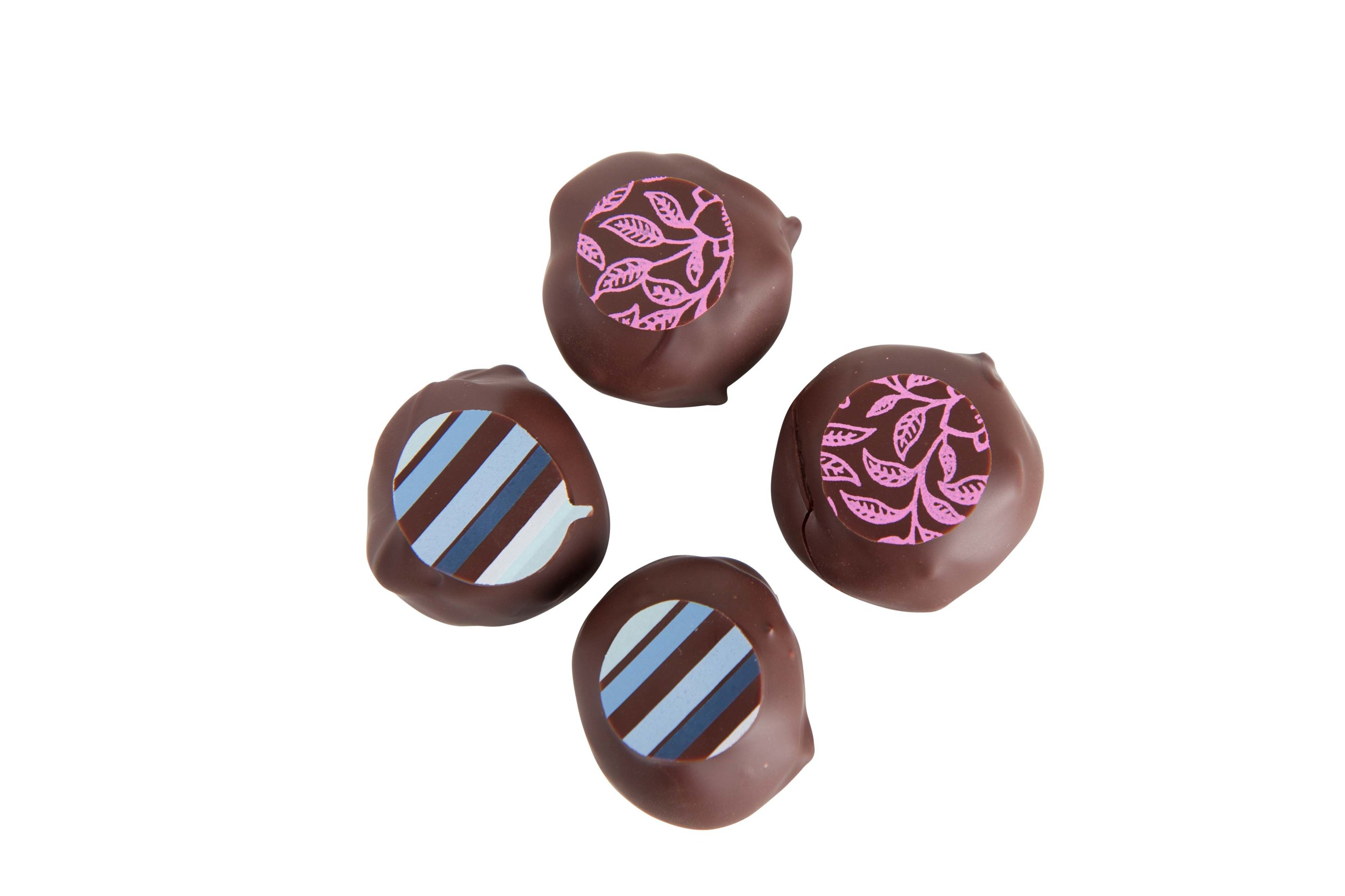 Interesting colors and designs, right on the chocolates.