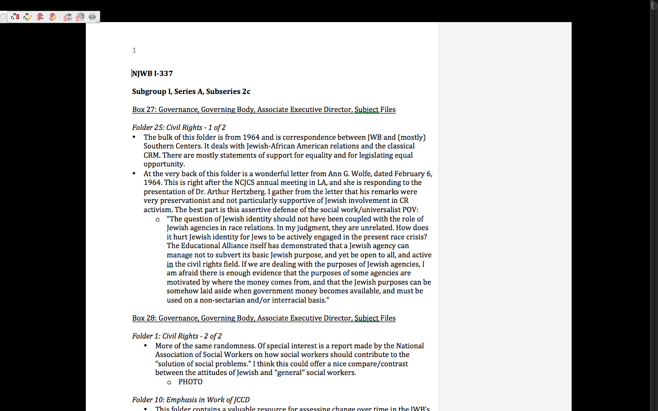 Screenshot of my first page of notes from the  NJWB Collection . Copyright of the author.