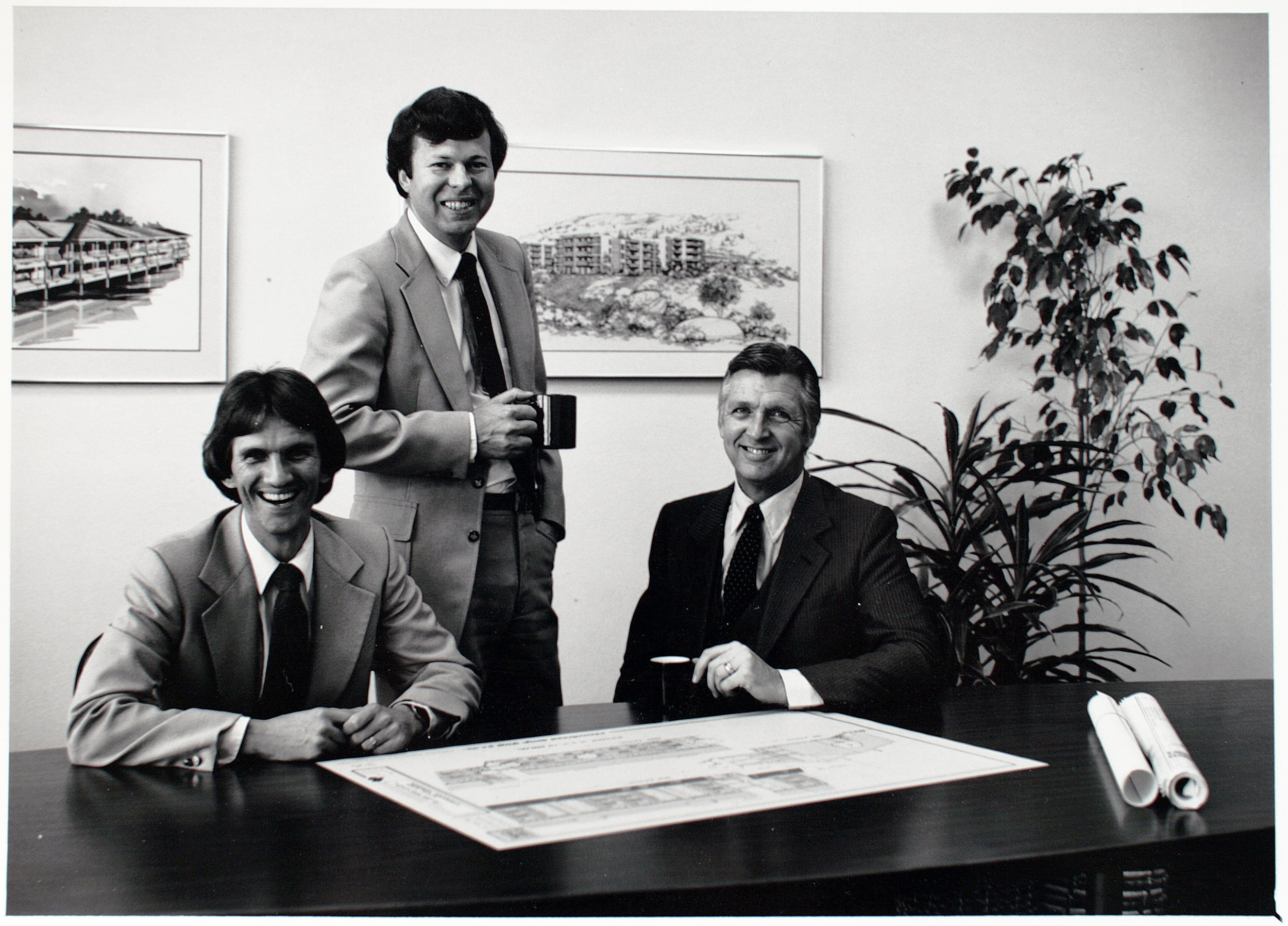 The Company's Founders, circa 1977. From left to right: Greg Allwine, Larry Braund, & Tom Johnson