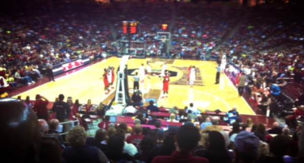 Lousy iPhone photo from my seat last season at the University of South Carolina women's final home game.