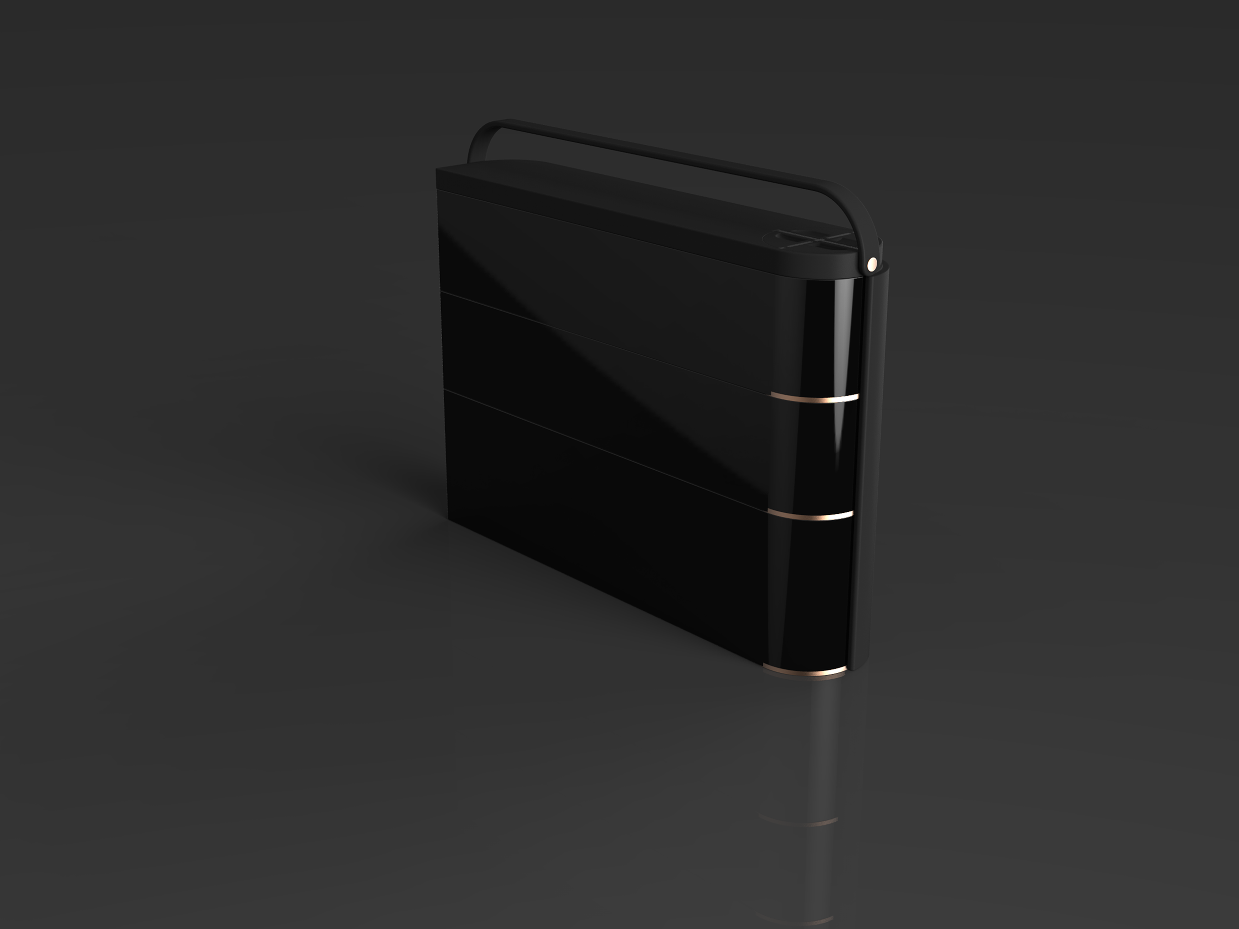 all black model with copper plated detail