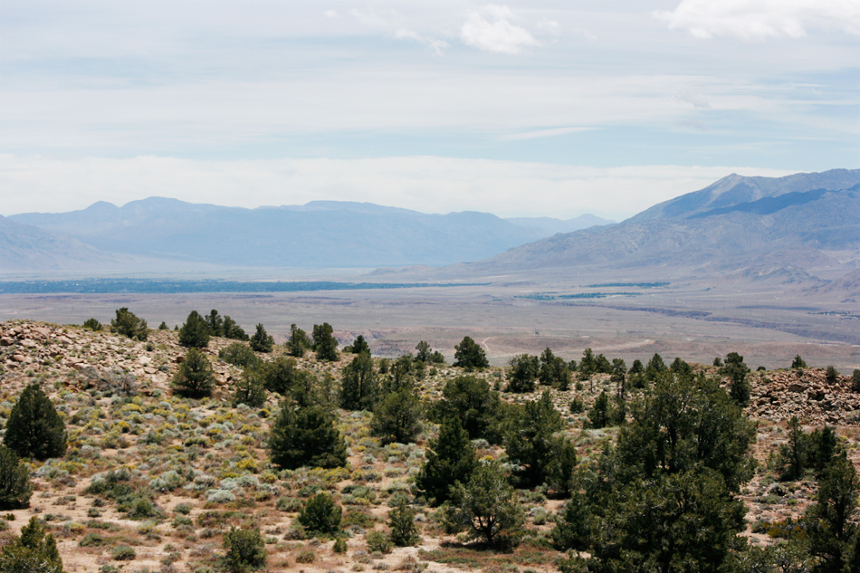 Owens Valley, through the Sierraon the way down to Death Valley