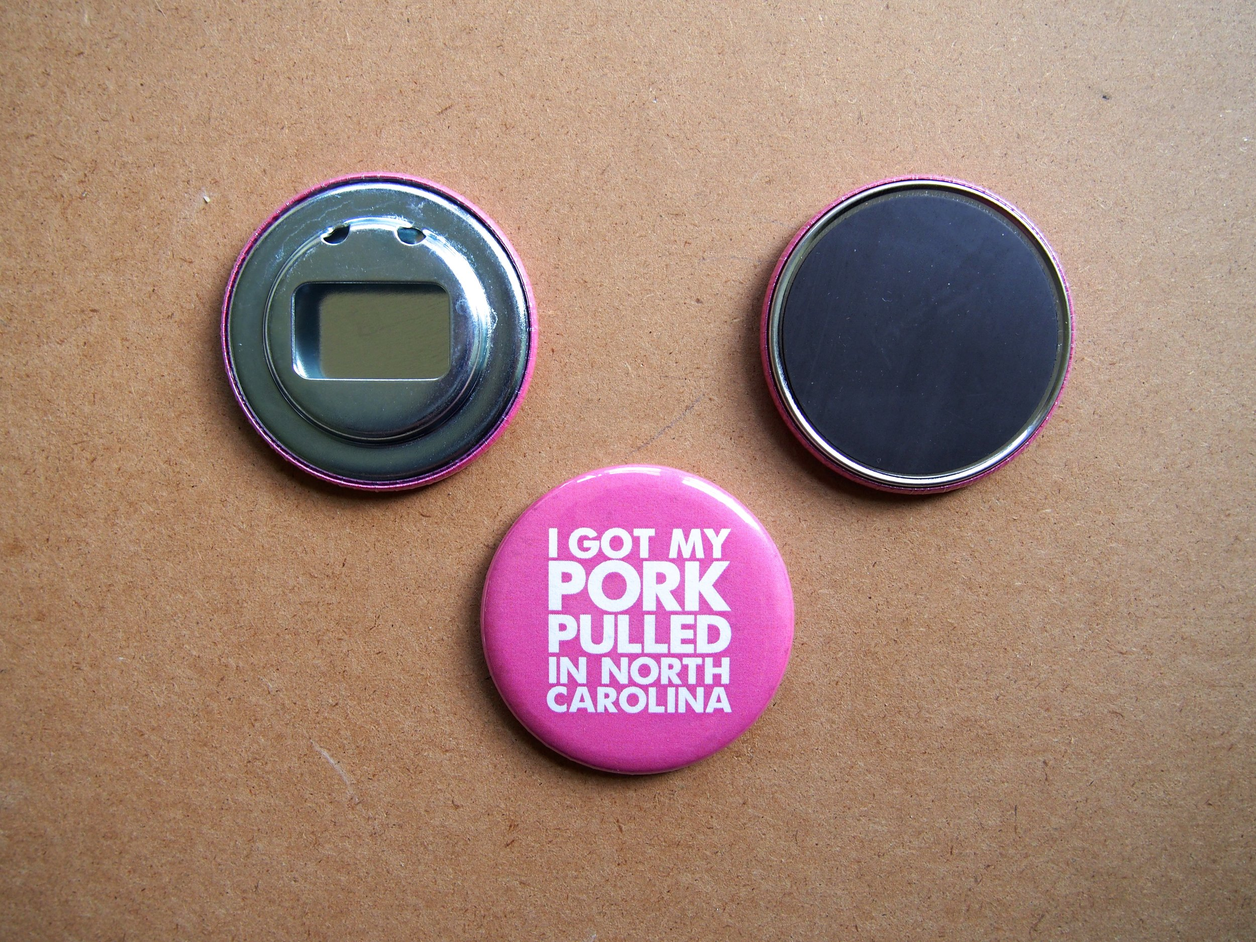 NC BBQ magnets, bottle openers & pins >> EDIA Maps + Not Made In China