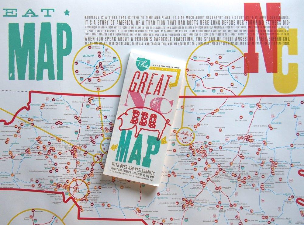 MAP + POSTER SET | NC BBQ — EDIA Maps . NC + SC food & adventure maps