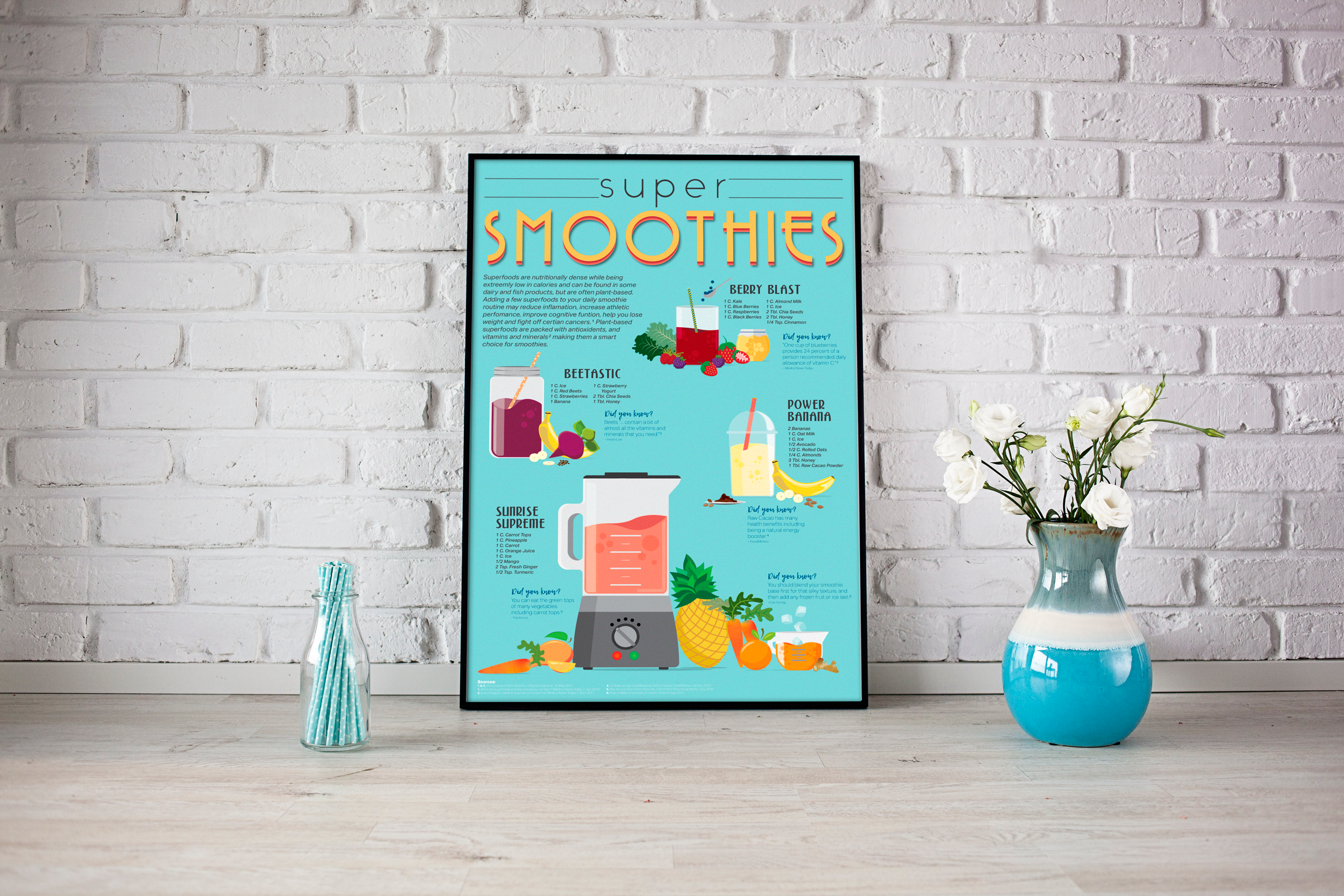 Super Smoothie | Infographic | Poster | Designs by Lisa Kerner | Illustration