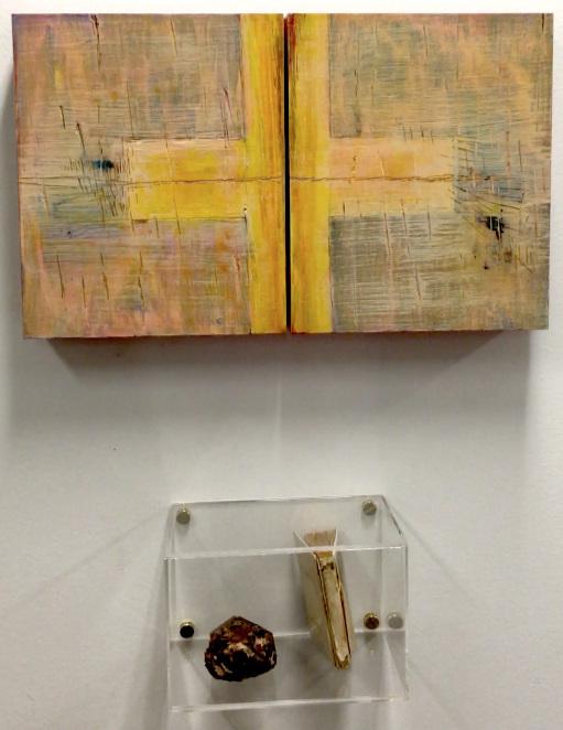 Above: Triptych by Cheryl Ruddock, materials: acrylic and wood panels  Below: Sculpture by Jesse Ruddock, materials: quartz, Communion book, and plastic cube
