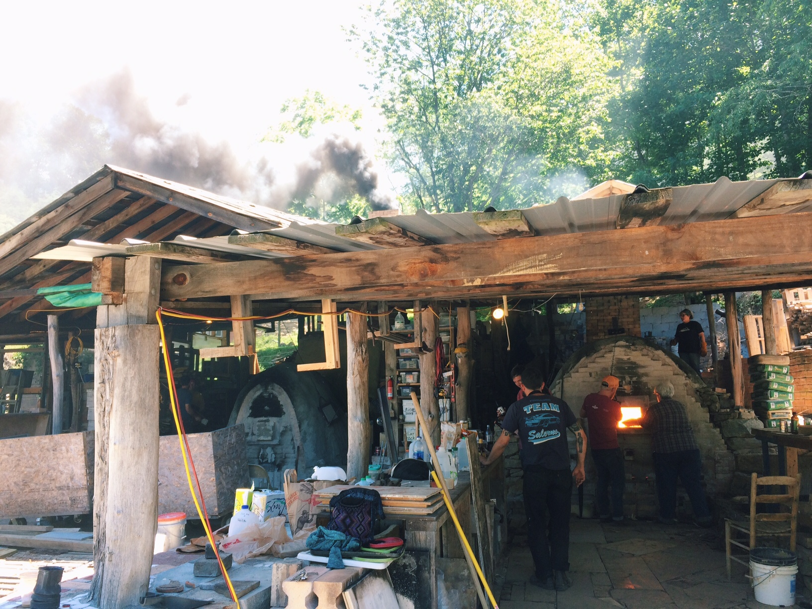 Josh Copus' kiln yard, with both kilns firing simultaneously.