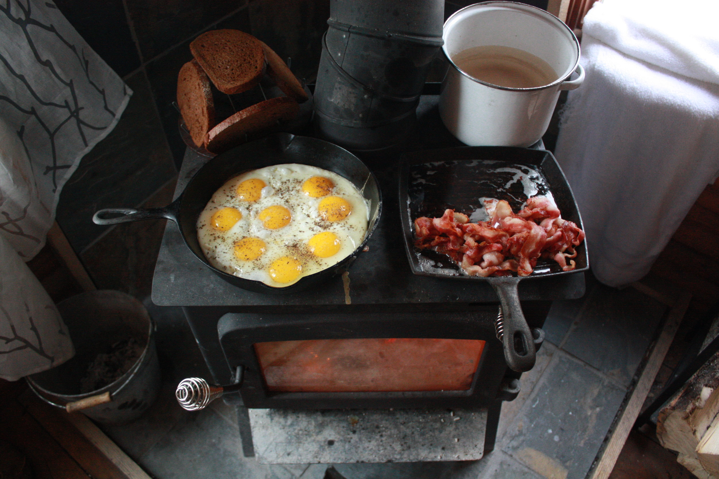 Retreat breakfast routine - all the good fats, cooked on the woodstove.