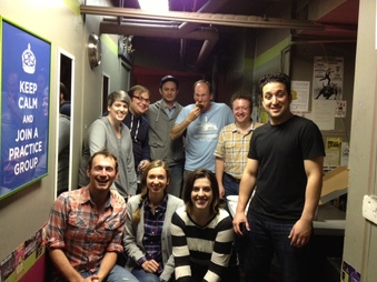 The brilliant improvisational comedians at the Upright Citizens Brigade asked me to be a guest monologist. Who would have thought they could get such laughs from Fermat's Last Theorem? (Front row: Brandon Scott Jones, Lauren Lapkus, Abra Tabak, and Dan Black. Back row: Shannon O'Neill, Gavin Speiller, Michael Kayne, Neil Casey.)