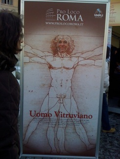 No one in the piazza even noticed the face switch on the Vitruvian Man