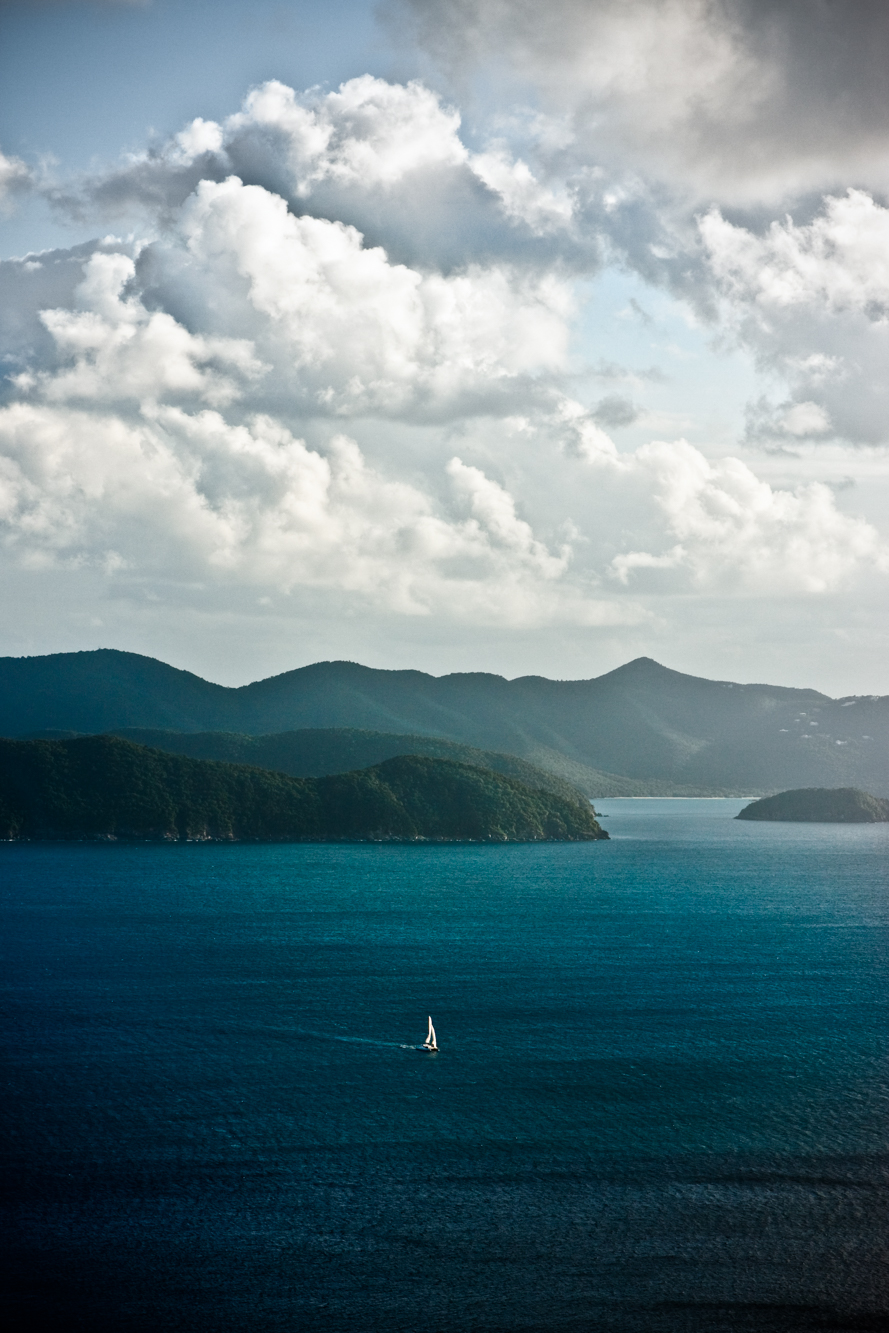 Sailboat Crossing from Tortola to White Bay.