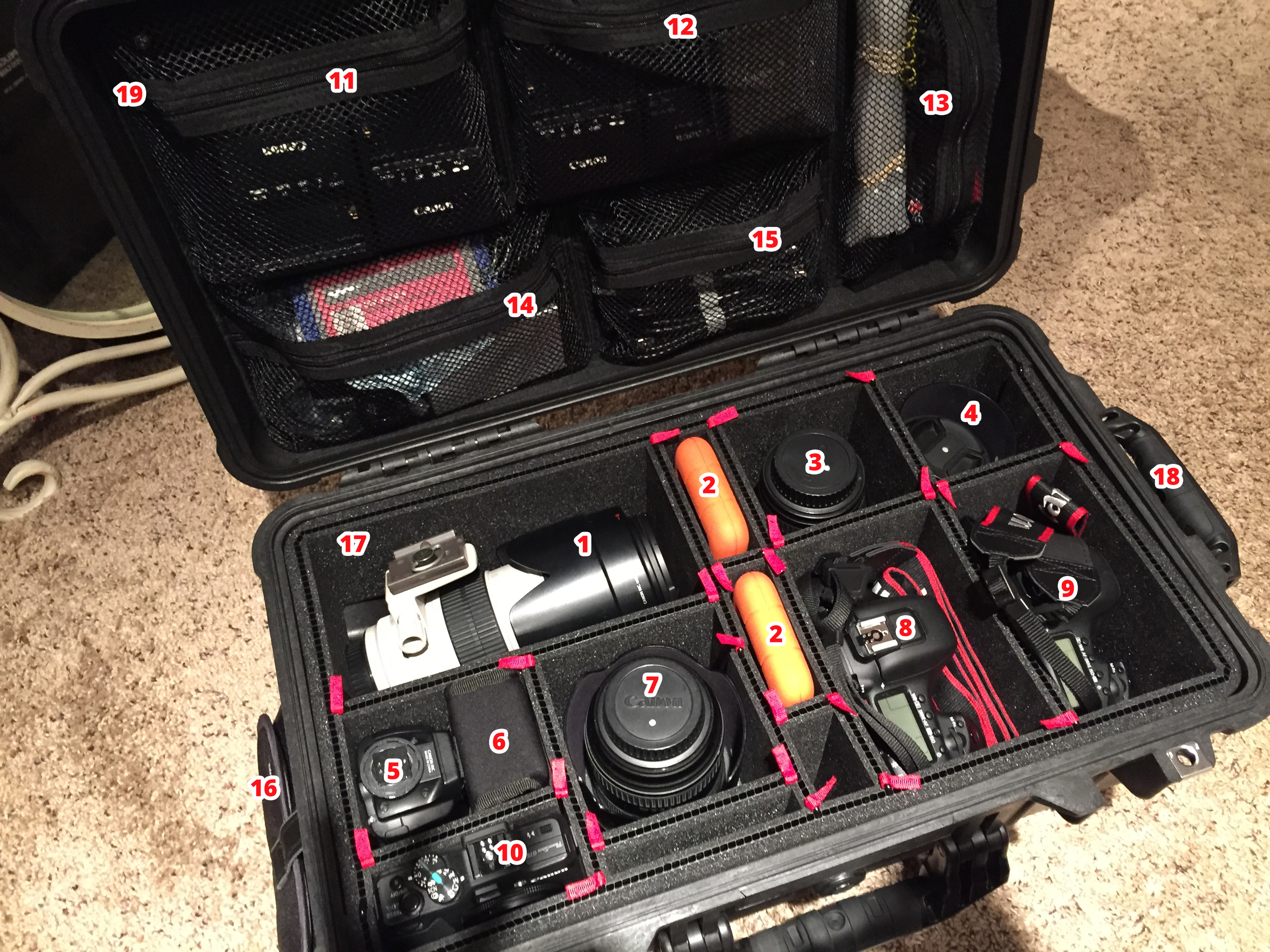 Pelican 1510 Case with Pelican 1519 Lid Organizer and TrekPak Inserts