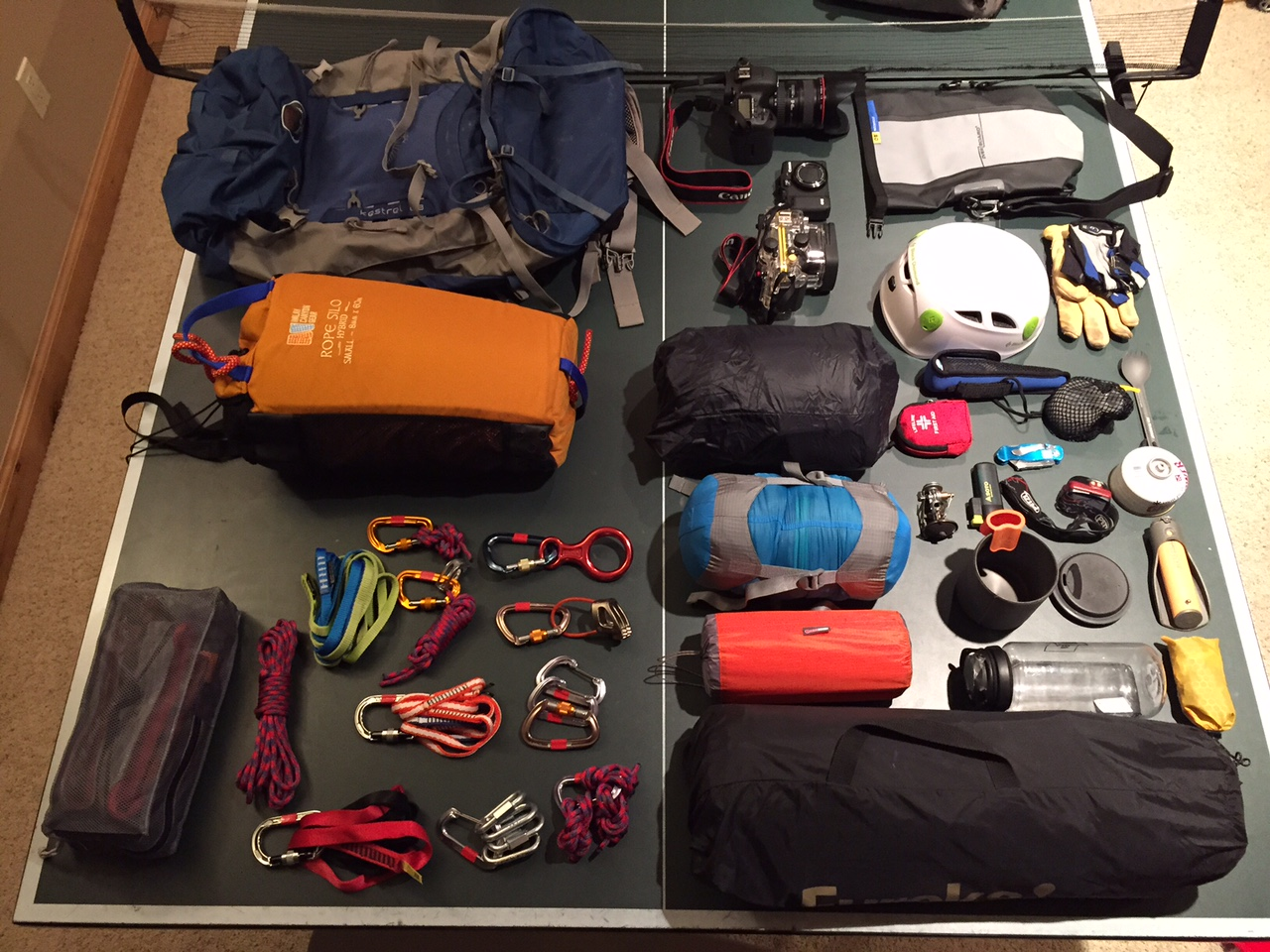 Pre-packed gear shot for a canyoneering trip to Zion National Park.
