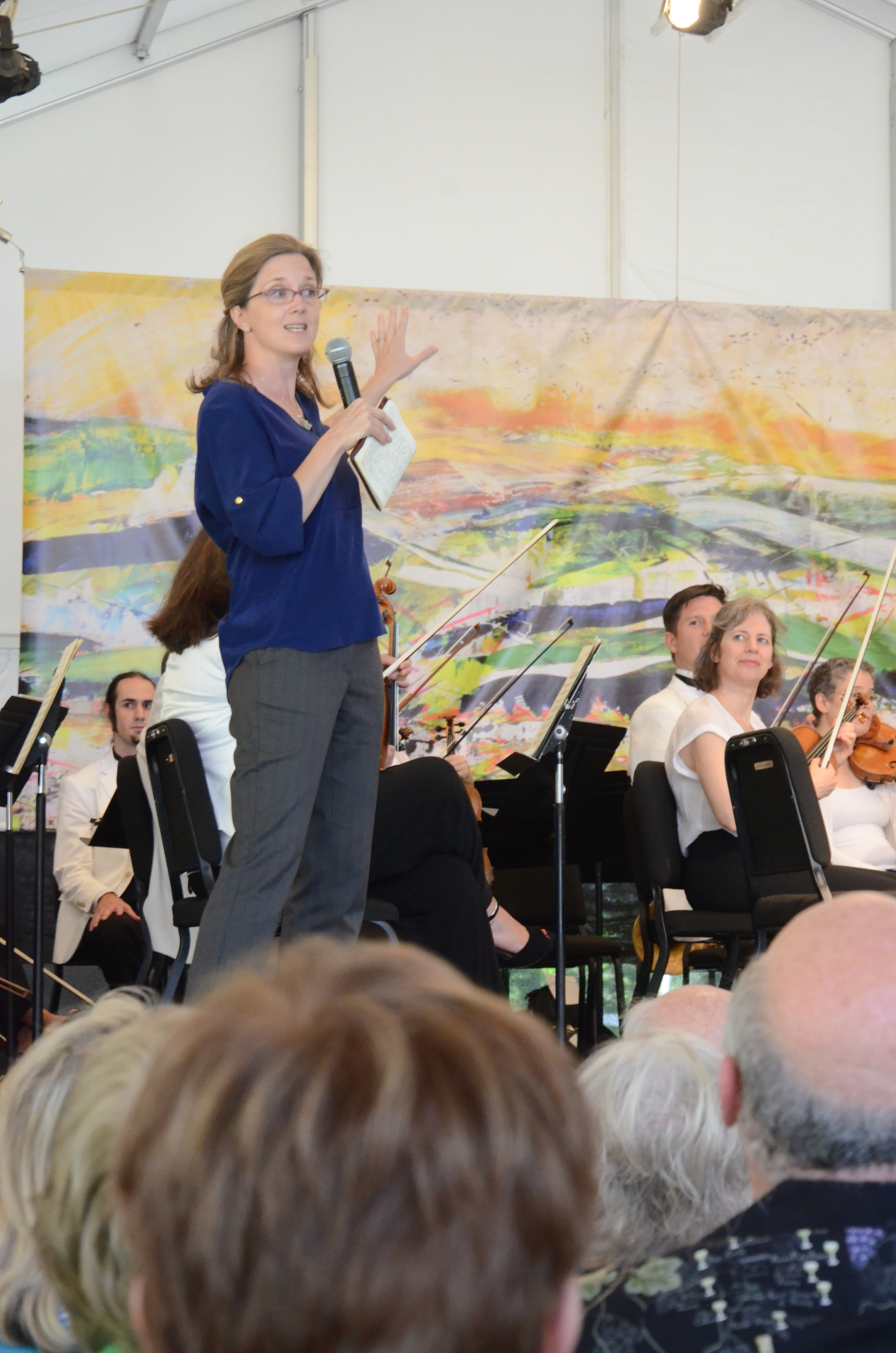 Me, introducing the 2015 backdrop at the first orchestra concert. [ah...the joys of a tent in an outdoor location -wrinkles are unavoidable. They aren't in the poster or the original, however!]  Photo credit: John Taylor.