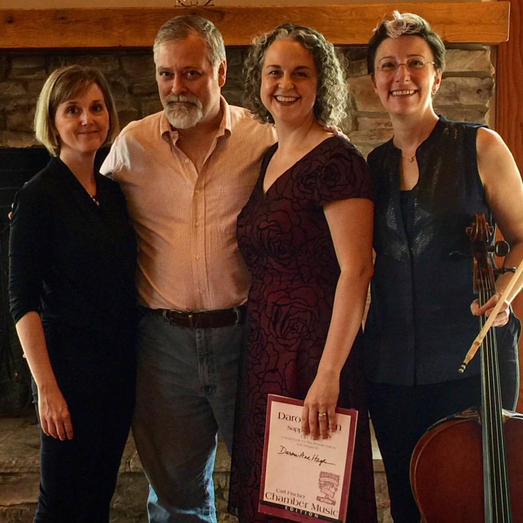 Copy of Erin Freeman, Daron Hagen, Gilda Lyons, and Sarah Kapps after a performance of Hagen's Sappho Songs