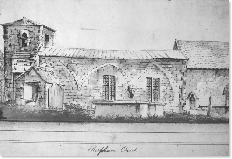 A drawing of the church from 1791