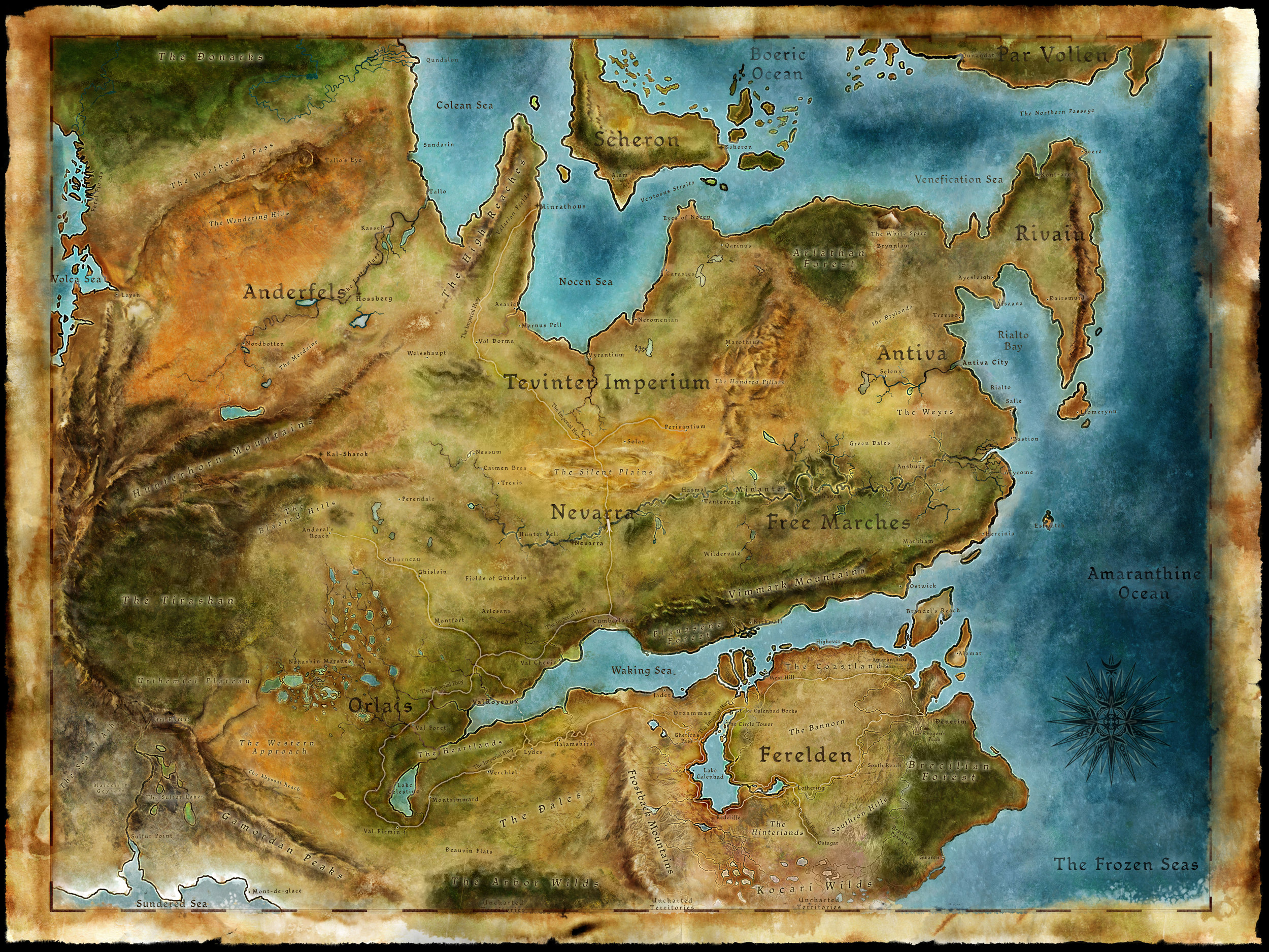 Dragon Age: Origins  took place in the Ferelden Peninsula in the South, whereas  Dragon Age 2  occurred to the North in the Free Marches, and  Dragon Age: Inquisition is set in the world as a whole.
