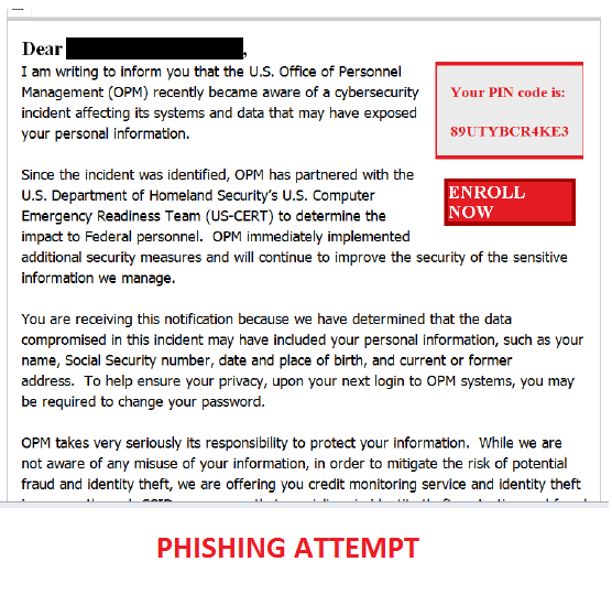 OPM Phishing Attempt