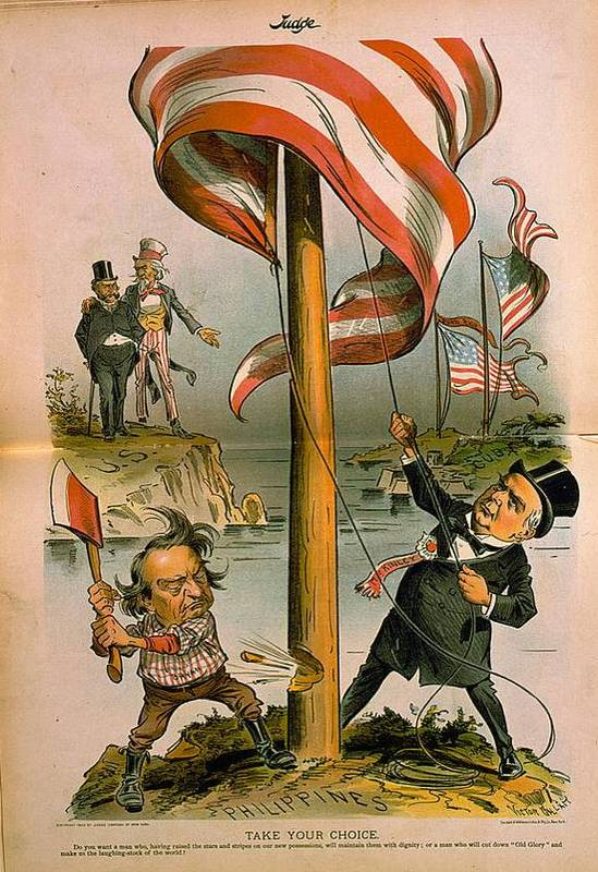 """""""Take Your Choice—Do you want a man who, having raised the stars and stripes in our new possessions, will maintain them with dignity; or a man who will cut down """"Old Glory"""" and make us the laughing stock of the world?"""" - via  Global Research"""