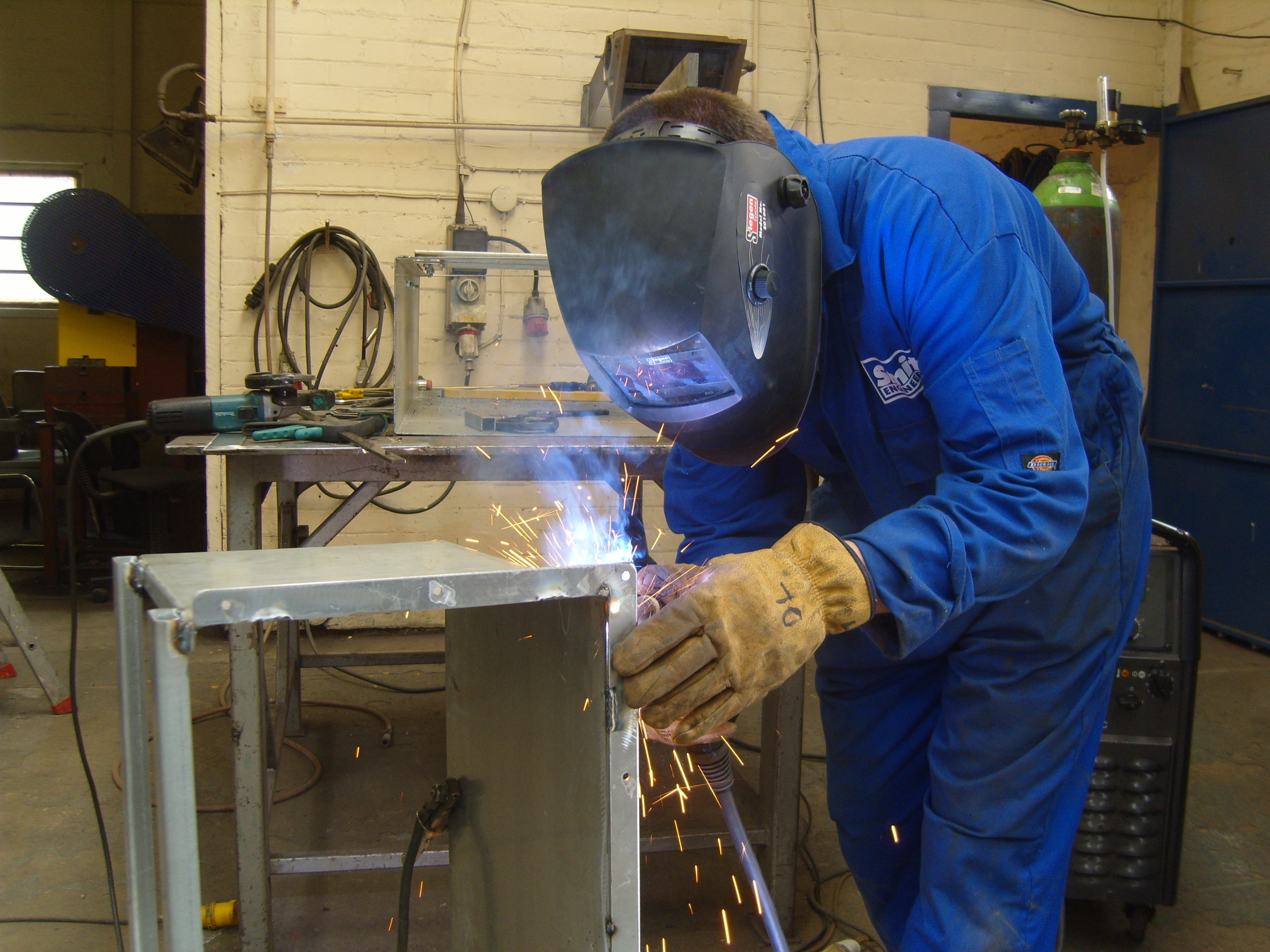 David Lightfoot welds the adjustable launder
