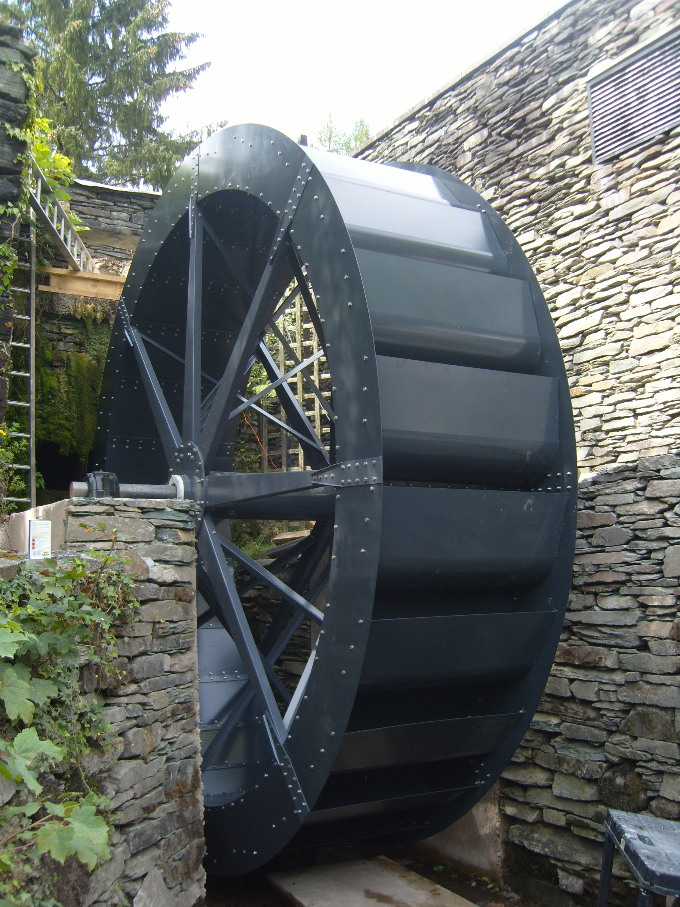 The waterwheel is 4 metres in diameter